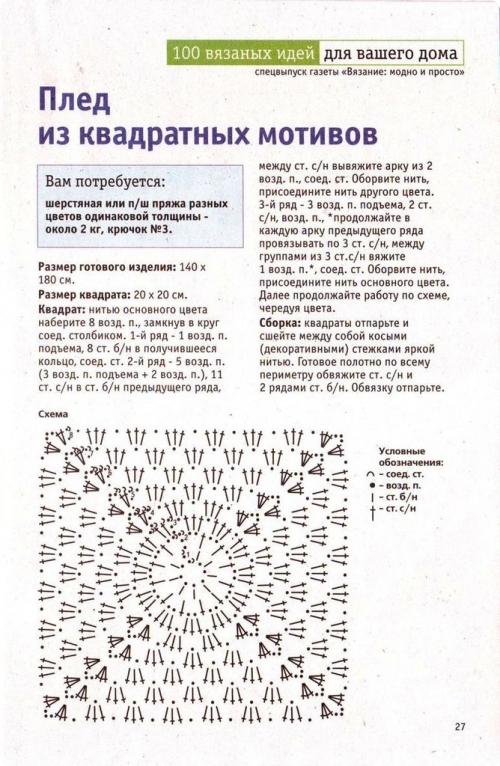 Вязание крючком пледов из квадратов схемы