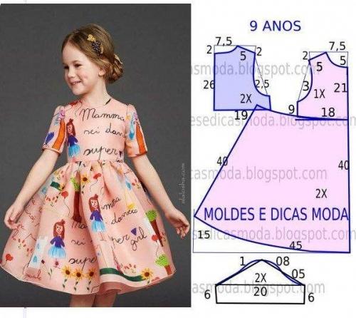 Схема шитья платья для девочек