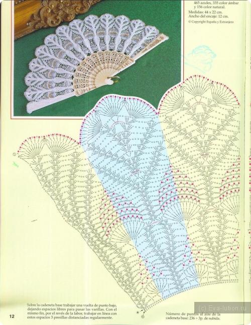Схема для вязания веер