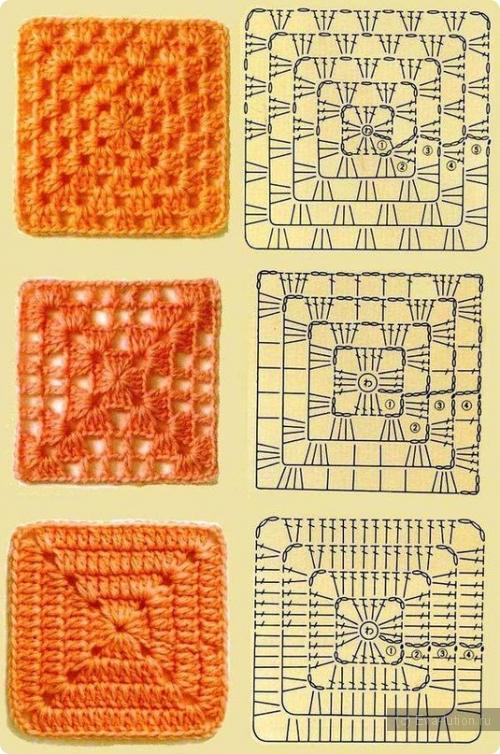Видеоурок вязания квадрата